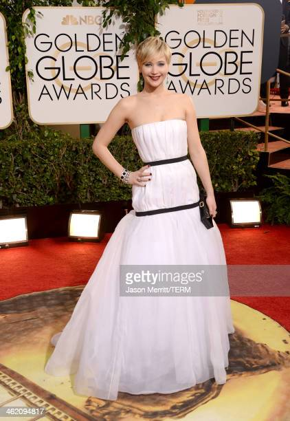 Actress Jennifer Lawrence attends the 71st Annual Golden Globe Awards held at The Beverly Hilton Hotel on January 12 2014 in Beverly Hills California