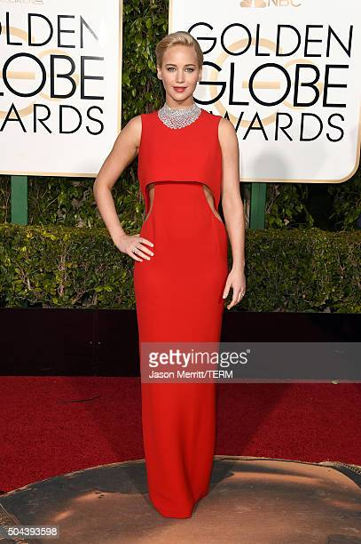 Actress Jennifer Lawrence attends the 73rd Annual Golden Globe Awards held at the Beverly Hilton Hotel on January 10 2016 in Beverly Hills California