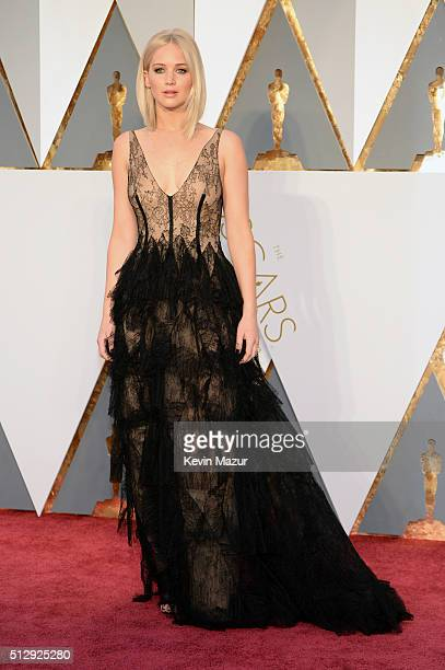 Actress Jennifer Lawrence attends the 88th Annual Academy Awards at Hollywood Highland Center on February 28 2016 in Hollywood California