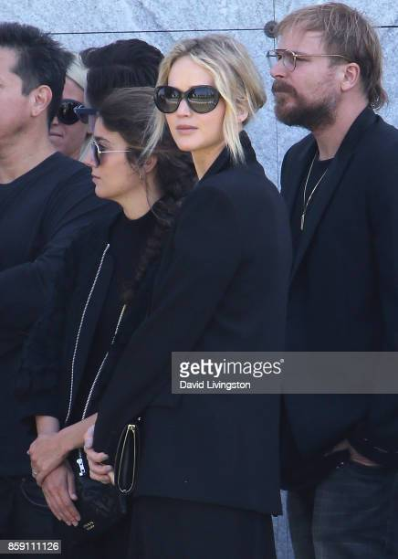 Actress Jennifer Lawrence attends the Anton Yelchin life celebration and statue unveiling ceremony at Hollywood Forever on October 8 2017 in...