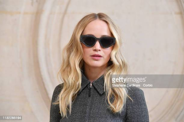 Actress Jennifer Lawrence attends the Christian Dior show as part of the Paris Fashion Week Womenswear Fall/Winter 2019/2020 on February 26 2019 in...