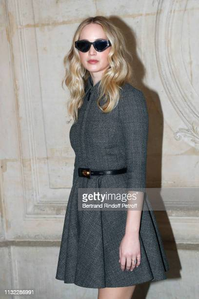 Actress Jennifer Lawrence attends the Christian Dior show as part of the Paris Fashion Week Womenswear Fall/Winter 2019/2020 on February 26, 2019 in...
