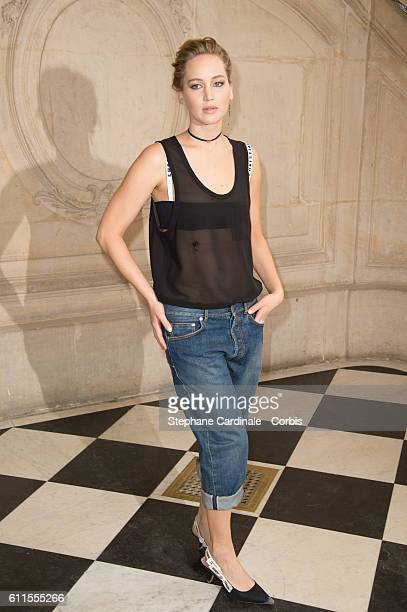 Actress Jennifer Lawrence attends the Christian Dior show as part of the Paris Fashion Week Womenswear Spring/Summer 2017 on September 30 2016 in...