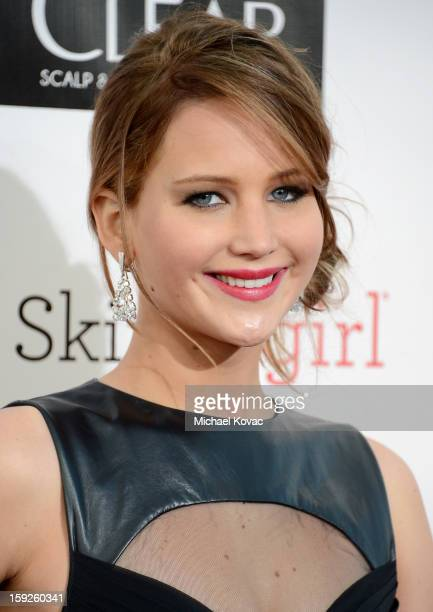 Actress Jennifer Lawrence attends the Critics' Choice Movie Awards 2013 with Skinnygirl Cocktails at Barkar Hangar on January 10, 2013 in Santa...
