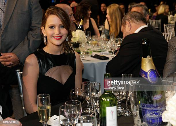 Actress Jennifer Lawrence attends the Critics' Choice Movie Awards 2013 with Champagne Nicolas Feuillatte at Barkar Hangar on January 10 2013 in...