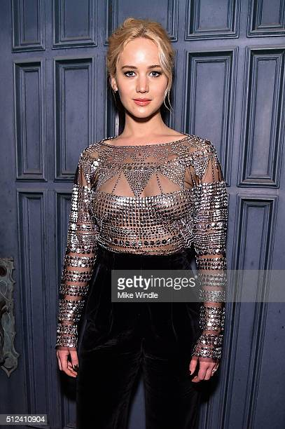 Actress Jennifer Lawrence attends The Dinner For Equality cohosted by Patricia Arquette and Marc Benioff on February 25 2016 in Beverly Hills...