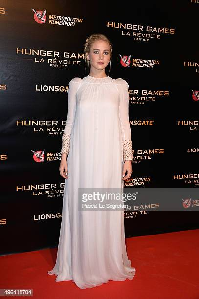 Actress Jennifer Lawrence attends The Hunger Games Mockingjay Part 2 Premiere at Le Grand Rex on November 9 2015 in Paris France