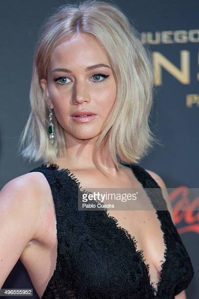 Actress Jennifer Lawrence attends 'The Hunger Games: Mockingjay - Part 2' premiere at Kinepolis cinema on November 10, 2015 in Madrid, Spain.