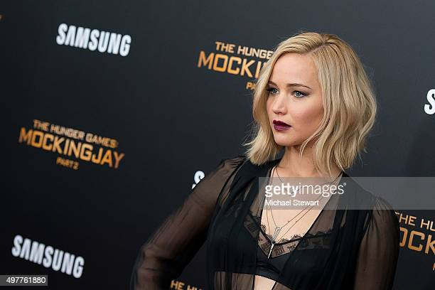 Actress Jennifer Lawrence attends The Hunger Games Mockingjay Part 2 New York premiere at AMC Loews Lincoln Square 13 theater on November 18 2015 in...