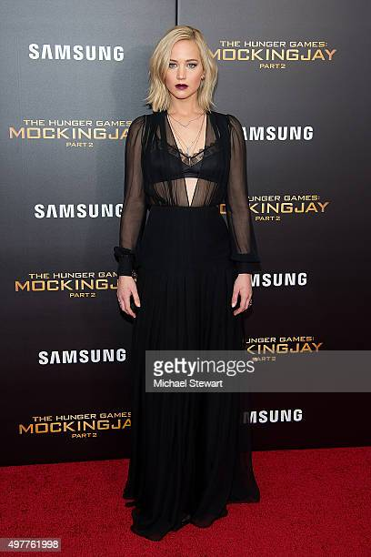 """Actress Jennifer Lawrence attends """"The Hunger Games: Mockingjay- Part 2"""" New York premiere at AMC Loews Lincoln Square 13 theater on November 18,..."""