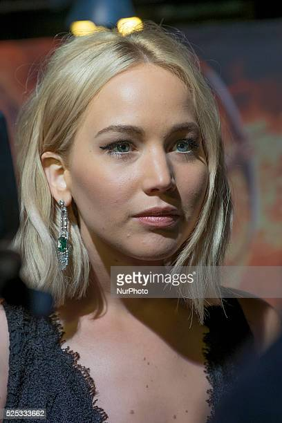 Actress Jennifer Lawrence attends 'The Hunger Games Mockingjay Part 2' premiere at the Kinepolis Cinema on November 10 2015 in Madrid Spain