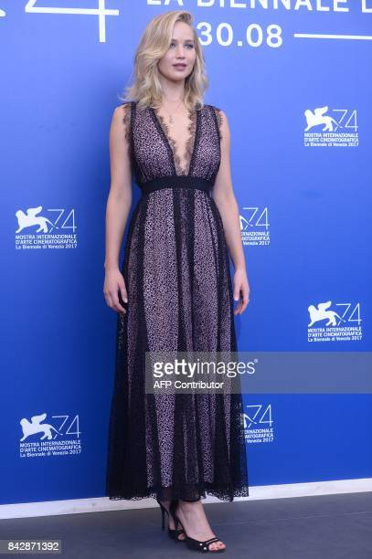 US actress Jennifer Lawrence attends the photocall of the movie 'Mother' presented in competition at the 74th Venice Film Festival on September 5...