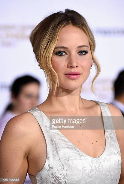 """Actress Jennifer Lawrence attends the premiere of Lionsgate's """"The Hunger Games: Mockingjay - Part 1"""" at Nokia Theatre L.A. Live on November 17, 2014..."""