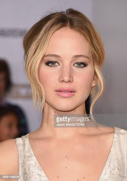 Actress Jennifer Lawrence attends the Premiere of Lionsgate's The Hunger Games Mockingjay Part 1 at Nokia Theatre LA Live on November 17 2014 in Los...