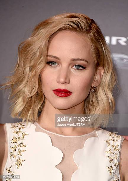 Actress Jennifer Lawrence attends the premiere of Lionsgate's The Hunger Games Mockingjay Part 2 at Microsoft Theater on November 16 2015 in Los...