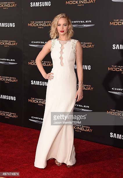 Actress Jennifer Lawrence attends the premiere of Lionsgate's 'The Hunger Games: Mockingjay - Part 2' at Microsoft Theater on November 16, 2015 in...