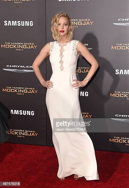 Actress Jennifer Lawrence attends the premiere of Lionsgate's 'The Hunger Games Mockingjay Part 2' at Microsoft Theater on November 16 2015 in Los...