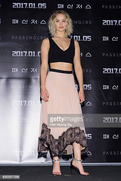 """Actress Jennifer Lawrence attends the press conference for """"Passengers"""" at CGV on December 16, 2016 in Seoul, South Korea. The film will open on..."""