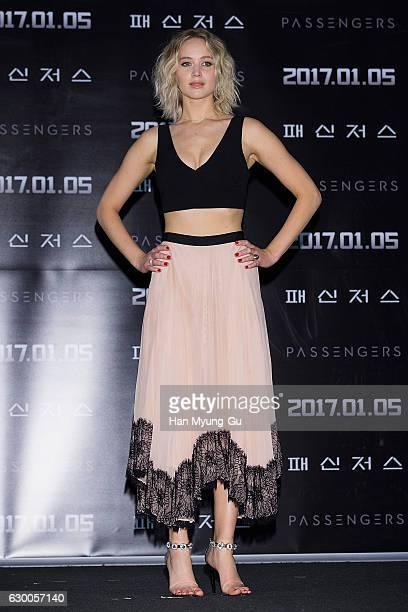 Actress Jennifer Lawrence attends the press conference for 'Passengers' at CGV on December 16 2016 in Seoul South Korea The film will open on January...