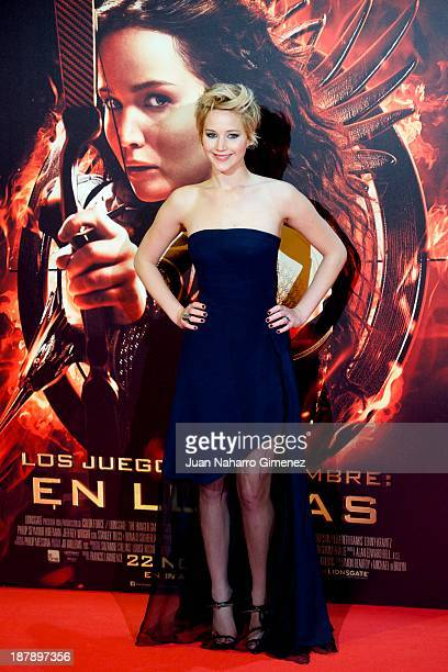 Actress Jennifer Lawrence attends the Spanish premiere of the film 'The Hunger Games - Catching Fire' at the Callao cinema on November 13, 2013 in...
