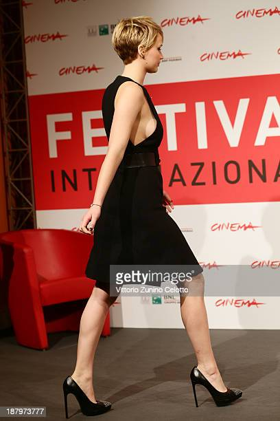 Actress Jennifer Lawrence attends the 'The Hunger Games Catching Fire' Photocall during the 8th Rome Film Festival at the Auditorium Parco Della...