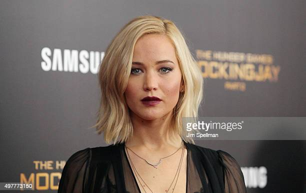Actress Jennifer Lawrence attends the The Hunger Games Mockingjay Part 2 New York premiere at AMC Loews Lincoln Square 13 theater on November 18 2015...