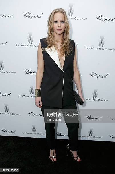 Actress Jennifer Lawrence attends The Weinstein Company Academy Award Party hosted by Chopard at Soho House on February 23, 2013 in West Hollywood,...