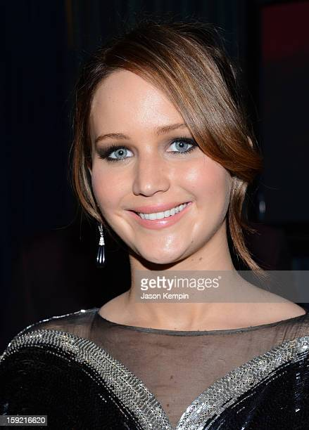 Actress Jennifer Lawrence backstage at the 39th Annual People's Choice Awards at Nokia Theatre LA Live on January 9 2013 in Los Angeles California