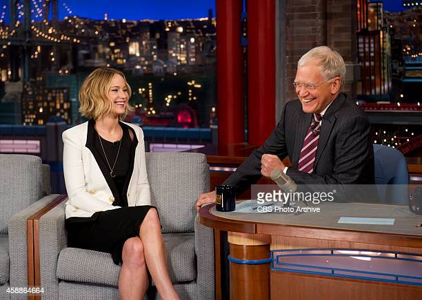 Actress Jennifer Lawrence chats with Dave on the Late Show with David Letterman Wednseday Nov 11 2014 on the CBS Television Network