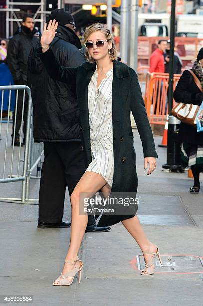 "Actress Jennifer Lawrence enters the ""Good Morning America"" taping at the ABC Times Square Studios on November 13, 2014 in New York City."