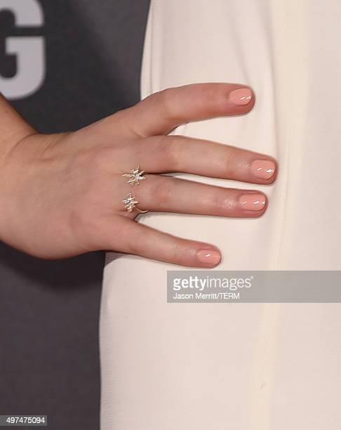 Actress Jennifer Lawrence fashion detail attends the premiere of Lionsgate's 'The Hunger Games Mockingjay Part 2' at Microsoft Theater on November 16...