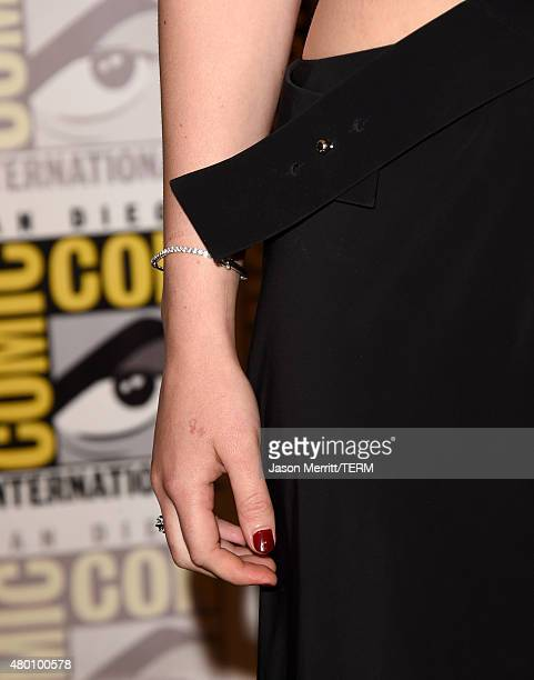 """Actress Jennifer Lawrence, fashion detail, of """"The Hunger Games: Mockingjay - Part 2"""" attends the Lionsgate press room during Comic-Con International..."""