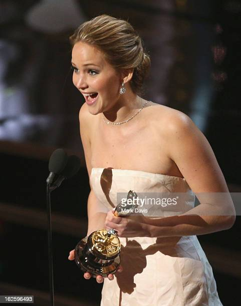 Actress Jennifer Lawrence onstage during the Oscars held at the Dolby Theatre on February 24 2013 in Hollywood California
