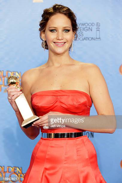 Actress Jennifer Lawrence poses in the press room at the 70th Annual Golden Globe Awards held at The Beverly Hilton Hotel on January 13 2013 in...