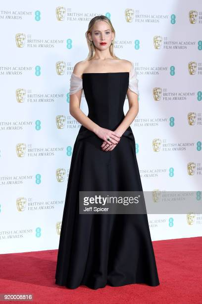 Actress Jennifer Lawrence poses in the press room during the EE British Academy Film Awards held at Royal Albert Hall on February 18 2018 in London...