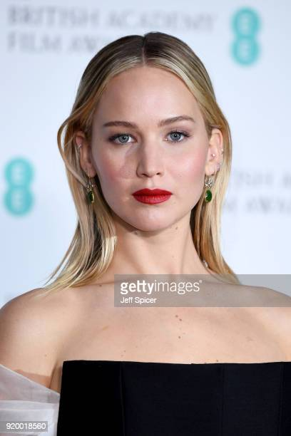 Actress Jennifer Lawrence poses in the press room during the EE British Academy Film Awards held at Royal Albert Hall on February 18, 2018 in London,...