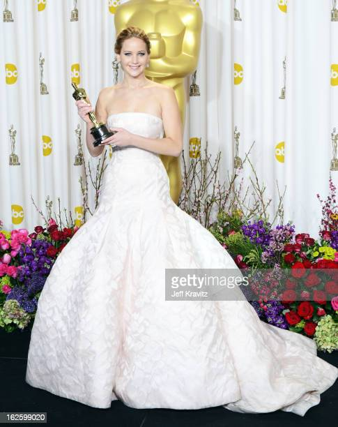 Actress Jennifer Lawrence poses in the press room during the Oscars at Loews Hollywood Hotel on February 24 2013 in Hollywood California