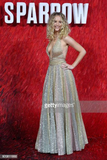 US actress Jennifer Lawrence poses on the red carpet on arrival to attend the European premiere of the film Red Sparrow in London on February 19 2018...