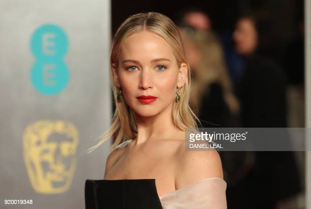 US actress Jennifer Lawrence poses on the red carpet upon arrival at the BAFTA British Academy Film Awards at the Royal Albert Hall in London on...