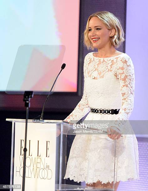 Actress Jennifer Lawrence speaks onstage at ELLE's 21st Annual Women in Hollywood Celebration at the Four Seasons Hotel on October 20 2014 in Beverly...