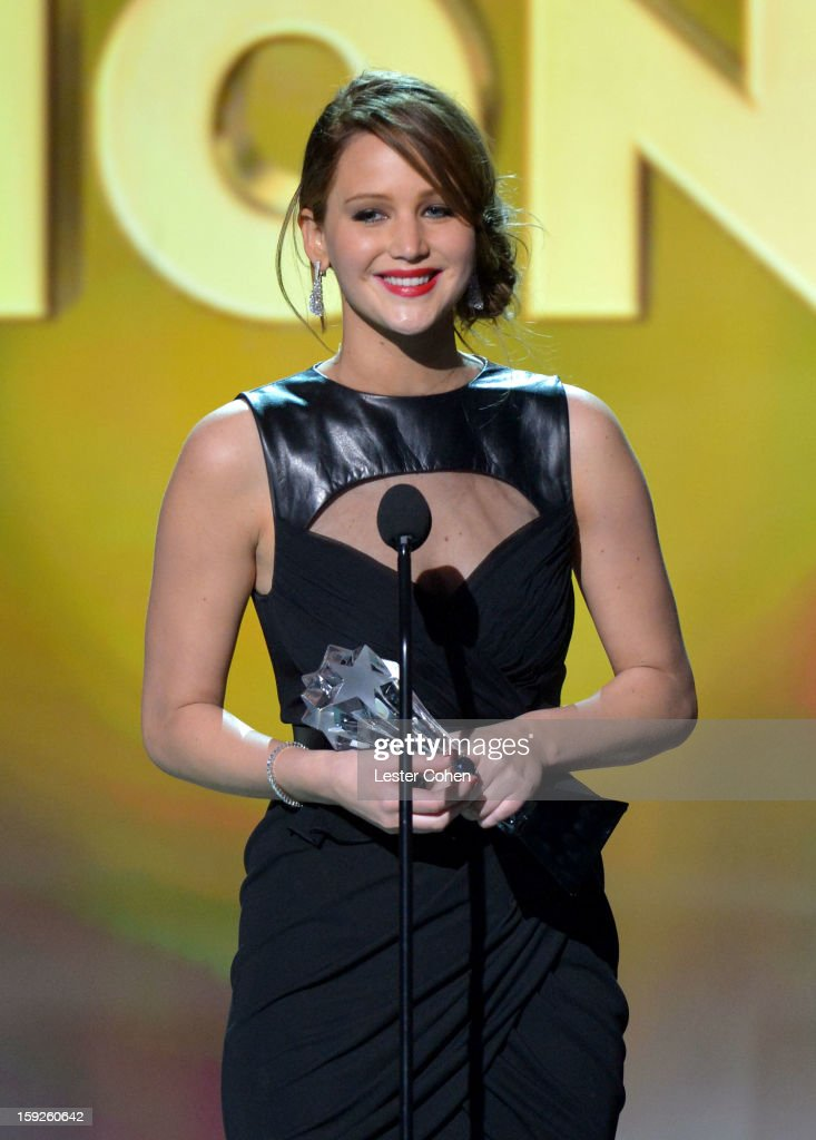 Actress Jennifer Lawrence speaks onstage during the 18th Annual Critics' Choice Movie Awards at The Barker Hanger on January 10, 2013 in Santa Monica, California.