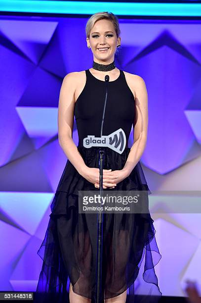 Actress Jennifer Lawrence speaks onstage during the 27th Annual GLAAD Media Awards at Waldorf Astoria Hotel in New York on May 14 2016 in New York...