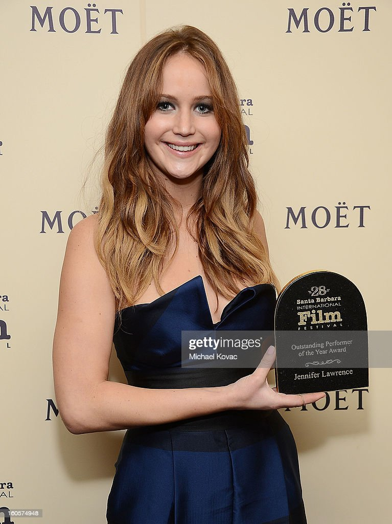 Actress Jennifer Lawrence visits The Moet & Chandon Lounge after receiving the Outstanding Performer of the Year Award at The Santa Barbara International Film Festival on February 2, 2013 in Santa Barbara, California.