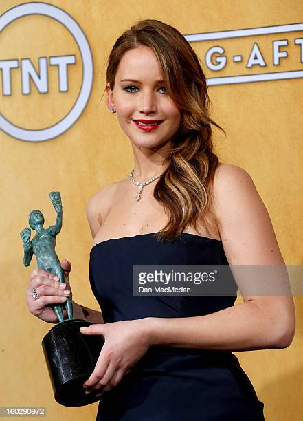 Actress Jennifer Lawrence winner of Outstanding Performance by a Female Actor in a Leading Role for 'Silver Linings Playbook' poses in the press room...