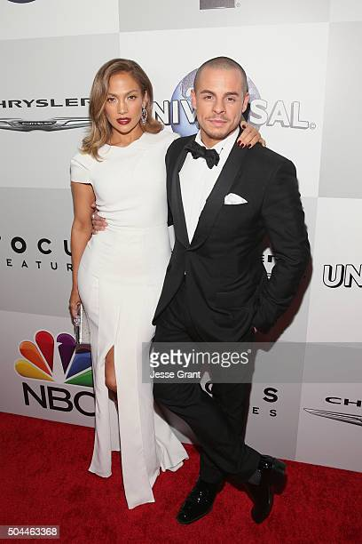 Actress Jennifer Lopez and dancer Casper Smart attend Universal NBC Focus Features and E Entertainment Golden Globe Awards After Party sponsored by...