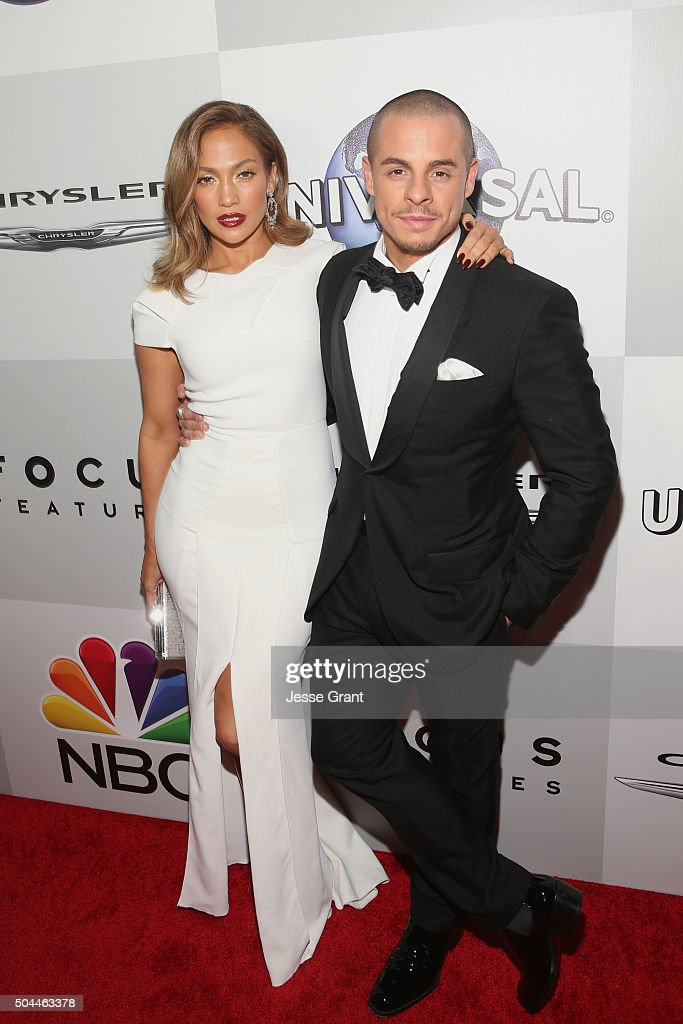 Actress Jennifer Lopez (L) and dancer Casper Smart attend Universal, NBC, Focus Features and E! Entertainment Golden Globe Awards After Party sponsored by Chrysler at The Beverly Hilton Hotel on January 10, 2016 in Beverly Hills, California.