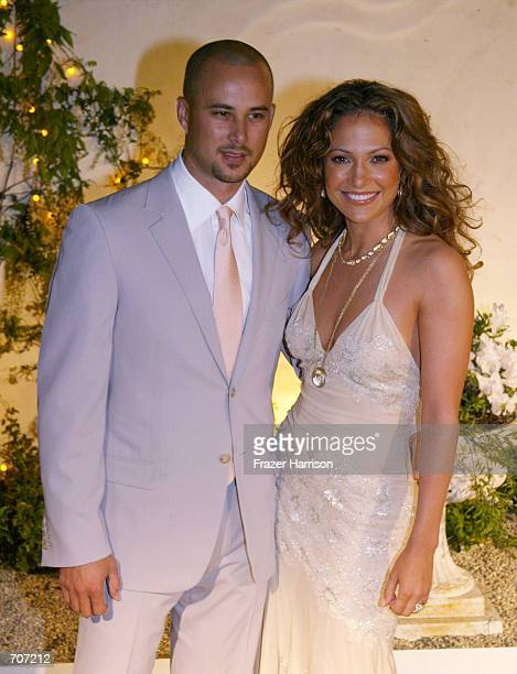 Actress Jennifer Lopez and her husband dancer Cris Judd attend the grand opening of her new restaurant Madres April 12 2002 in Pasadena CA