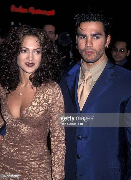 Actress Jennifer Lopez and husband Ojani Noa attend the 'Anaconda' Westwood Premiere on April 7 1997 at Mann Village Theatre in Westwood California