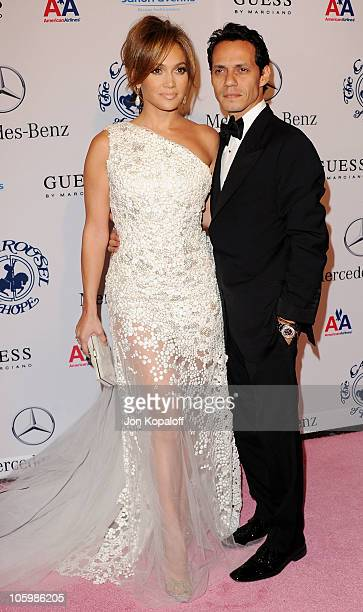Actress Jennifer Lopez and husband singer Marc Anthony arrive at the 32nd Anniversary Carousel Of Hope Ball at The Beverly Hilton hotel on October 23...