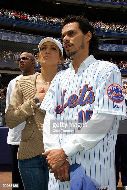 Actress Jennifer Lopez and husband singer Mark Anthony attend the Subway Series between the New York Mets and the New York Yankees on May 21 2005 at...